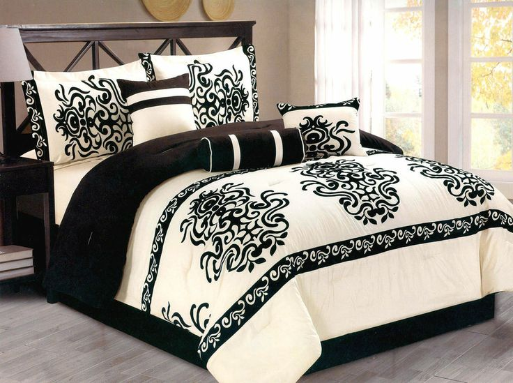 7 Pc Flocking Majestic Comforter Set Bed In A Bag Queen