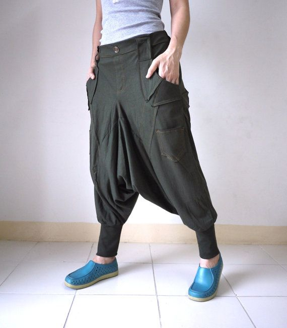 Men Women Funky Ninja Harem Dusty Army Green Stretch Cotton Drop Crotch Pants With 6 Pockets