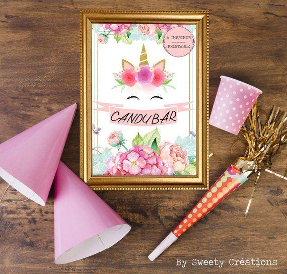 affiche candy bar theme licorne a