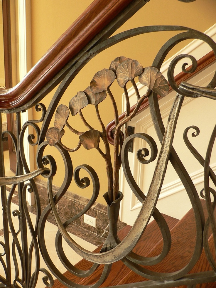 Bronze Gingko Railing by Matthew and Karine Maynard for a private home in Nashville, Tennessee.