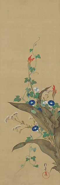 July - Birds and Flowers of the Twelve Months Artist:Sakai Hōitsu (Japanese, 1761–1828). Edo period (1615–1868). 1817–28. Set of twelve hanging scrolls; ink, color, and gold paint on silk