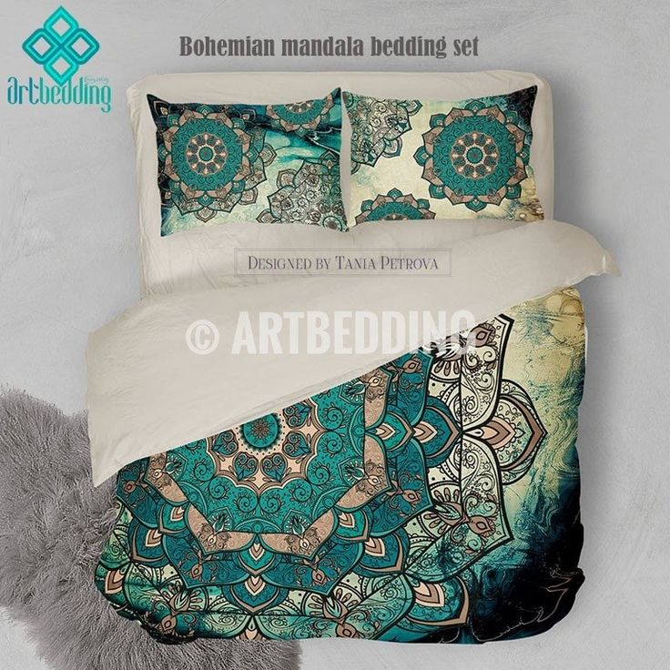 If you want to create bohemian look you may consider decorating with one of my creations. I made this stunning Multi layer Deco vintage mandala in gold beige, teal and turquoise green and blue palette on a beautiful abstract background with a bit of vintage distressed feel. Each piece of this bedding has its own unique design. Both pillow covers are different and present the beauty of this highly detailed mandala art from every angle. To compliment this bedding and to complete the overall…