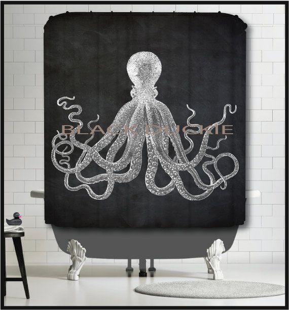 Chalkboard Octopus Shower Curtain  white octopus by TheBlackDuckie