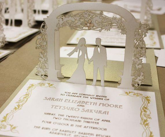 Lasercut Art Nouveau Pop Up Wedding Invitation By Katblu Diy