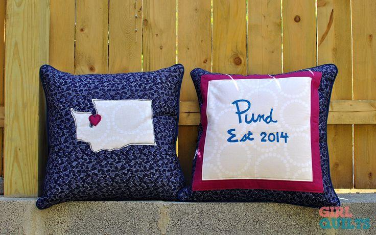 Seattle wedding pillows www.thegirlwhoquilts.com