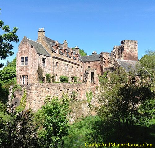 """Hawthornden Castle, on the River North Esk, Midlothian, Scotland.... www.castlesandmanorhouses.com .... Hawthornden comprises a 15th-century ruin, with an attached 17th-century L-plan house. The house has been restored and now serves as a writer's retreat. Man-made caves in the rock beneath the castle have been in use for far longer than any building. The castle was sacked by the Earl of Hertford in 1544 and again in 1547 during the wonderfully named """"Rough Wooing""""."""