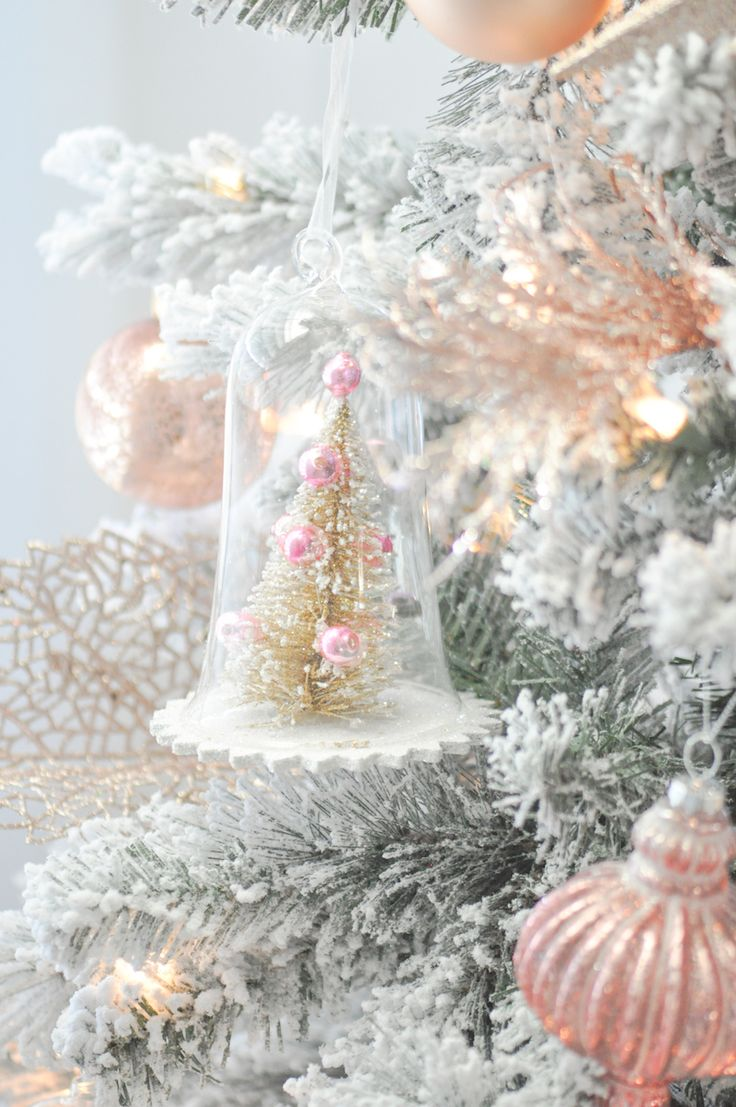 Victorian christmas decorations diy - Blush Pink And White Flocked Vintage Inspired Christmas Tree By Kara S Party Ideas Kara Allen