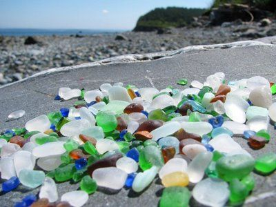 From another pinner: Port Townsend, WA. Glass Beach. This was one of my favorite places to go when I lived there. Dump trucks used to back up to the edge of the bluff and dump trash into the ocean. Now there is tons of Sea Glass and old rusted relics. I miss it.