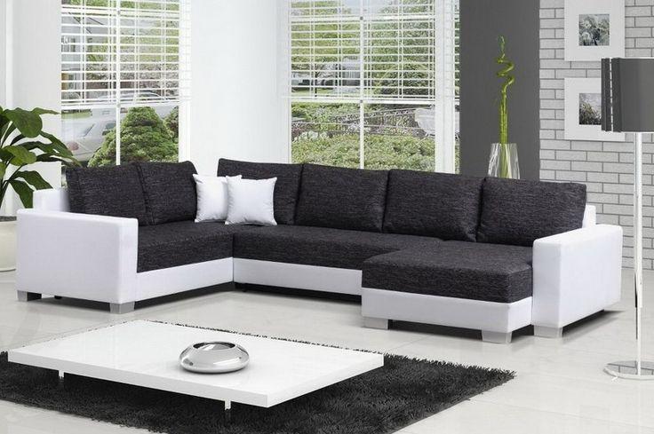 Canapé angle droit convertible tissu chiné gris anthracite et blanc simili cuir