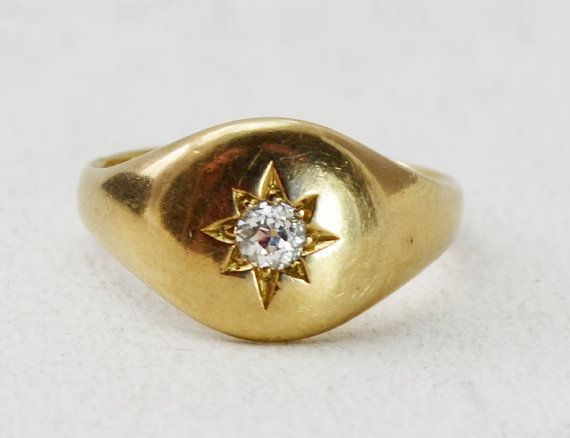 Heavy 18ct Yellow Gold Gypsy Star Set DIAMOND Mens or Womens SIGNET RING - Sz N -- 6.8g