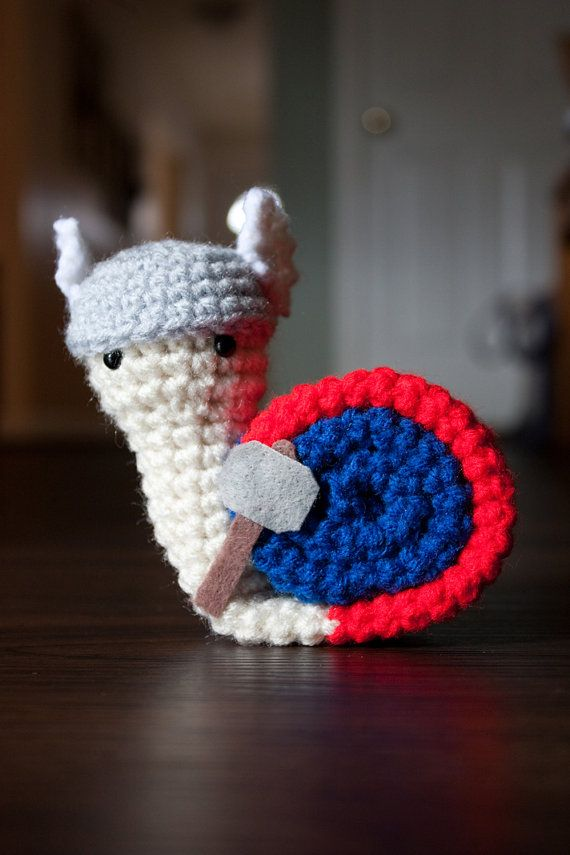 Thor Avengers snail amigurumi by FallenDesigns on Etsy, $20.00 - OMG his helmet ♥