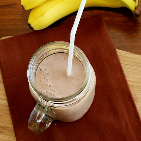Chocolate Banana Breakfast Smoothie -  a quick and healthy breakfast kids love.  @OurFamilyEats