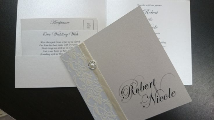 Handmade invitation with pattern paper. Including wishing well & acceptance inserts