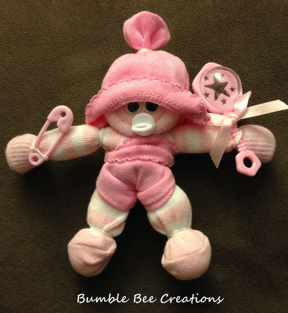 Pink Mini Baby Sock Corsage! by BumbleBeeCreations83 Even More ADORABLE in Person! It's way too CUTE & it's all made with items new baby can USE! Awesome Deal!