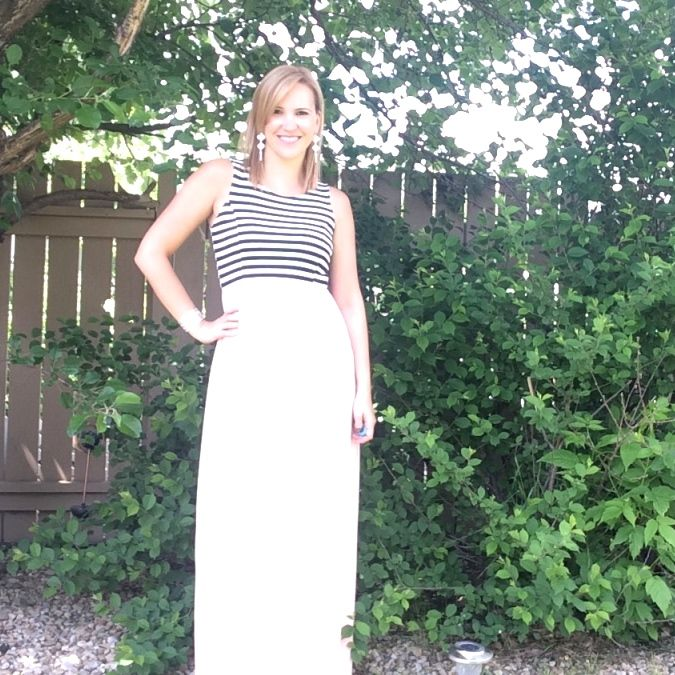 Black, White & Blush Maxi Dress - This dress is absolutely gorgeous and the perfect summer style for a wedding or everyday casual. Love it! #maxidress #blush #blackandwhitestripes #style #yegblogger #everwearyeg