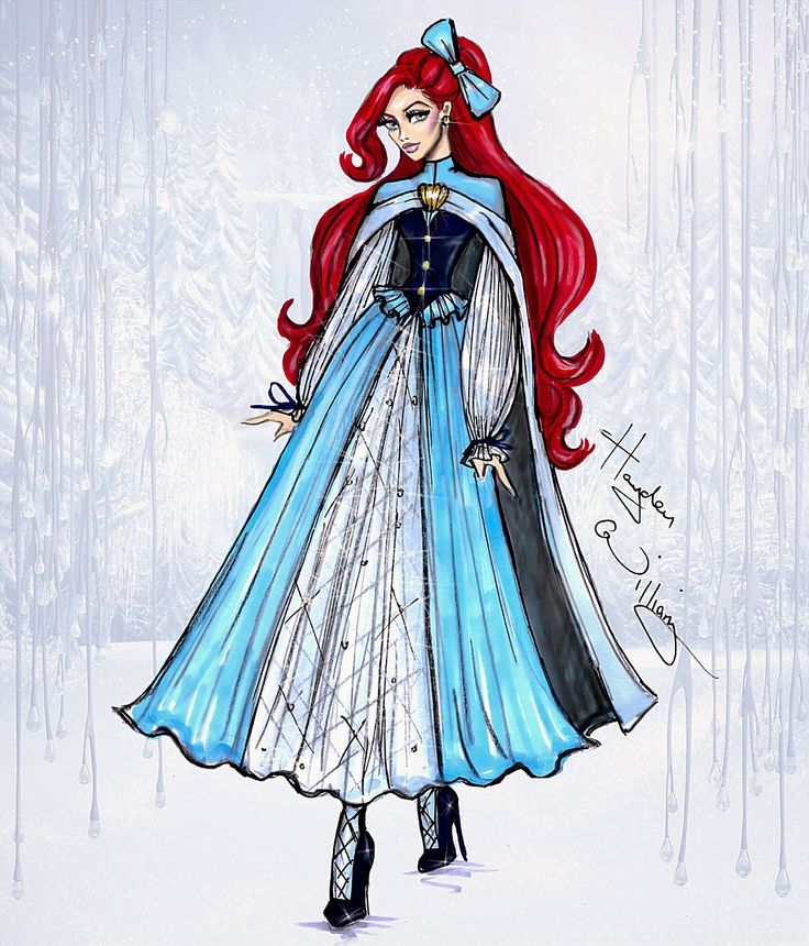 #Hayden Williams Fashion Illustrations #Disney Divas 'Holiday' collection by Hayden Williams: Ariel