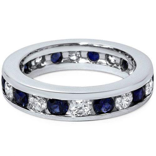 Zaffiro Nuziale Anello Blu Con Diamante 2.00 Ct Dei Canali | Blue Sapphire With Diamond