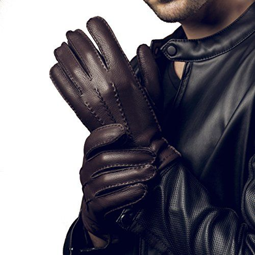 YISEVEN Men's Cashmere Lined Deerskin Leather Gloves Handsewn 100% A-CLASS DEERSKIN LEATHER - Before you make a purchase with your hard-earned money, give the glove an examination to see if the leather is authentic. Right here, you are guaranteed to receive these YISEVEN gloves made of high-quality REAL Deerskin which is one of the SOFTEST leathers available, and they are offering decent strength and able to STAY SOFT after getting wet. These gloves would be your chic Cold We