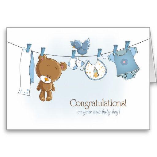 Congratulations Baby Boy with Teddy Bear Card  zazzle.com/jjbdesigns #greetingcard #zazzle #greeting #card