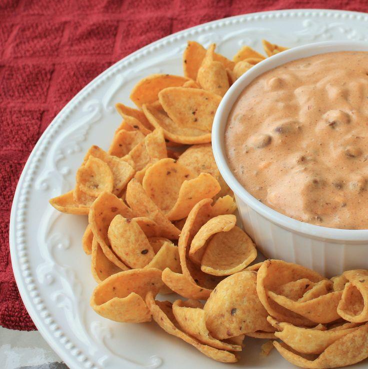 Chili Cream Cheese Dip screaming Texas, corn chips and dip! ..  #TheTexasFoodNetwork #chefshellp