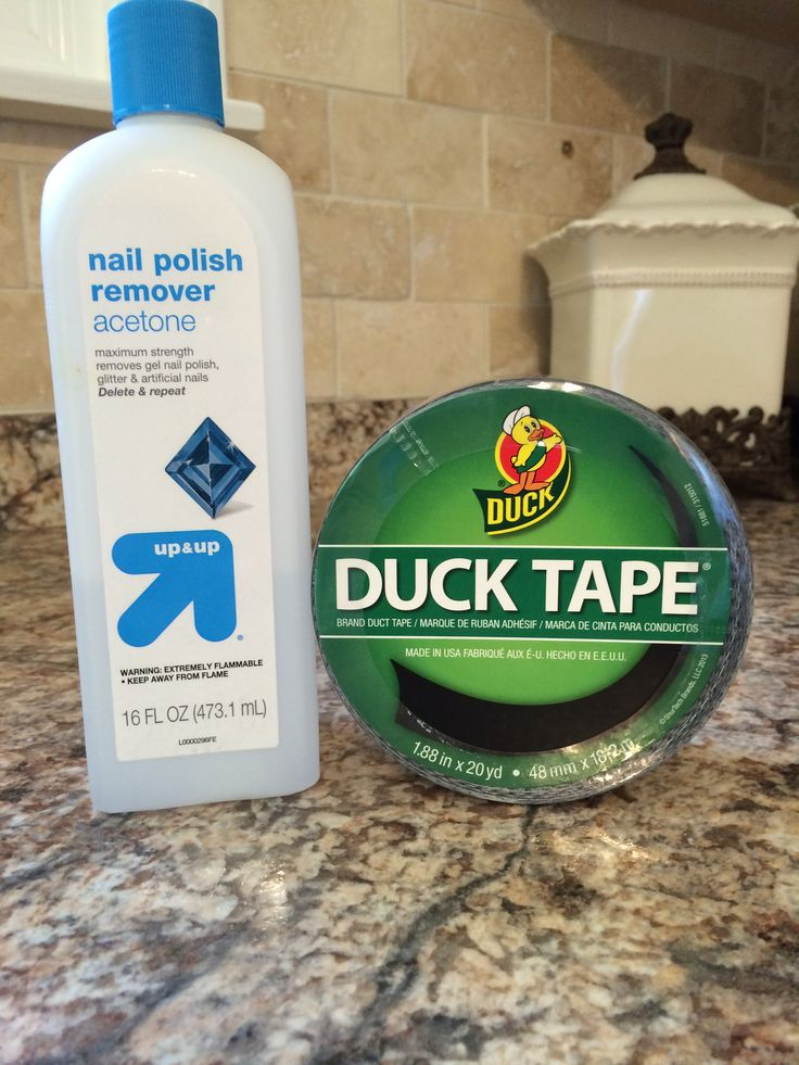 For removal of duck tape residue Sticky stuff,  tried nail polish remover.  Amazing.... Literally took seconds to remove!!!!  Who knew?