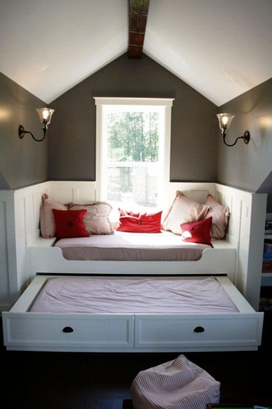 cool reading nook with trundle bed or dog bed underneath