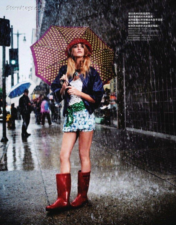 "The Terrier and Lobster: ""Fun in the Rain"" by David Burton for Elle Taiwan"