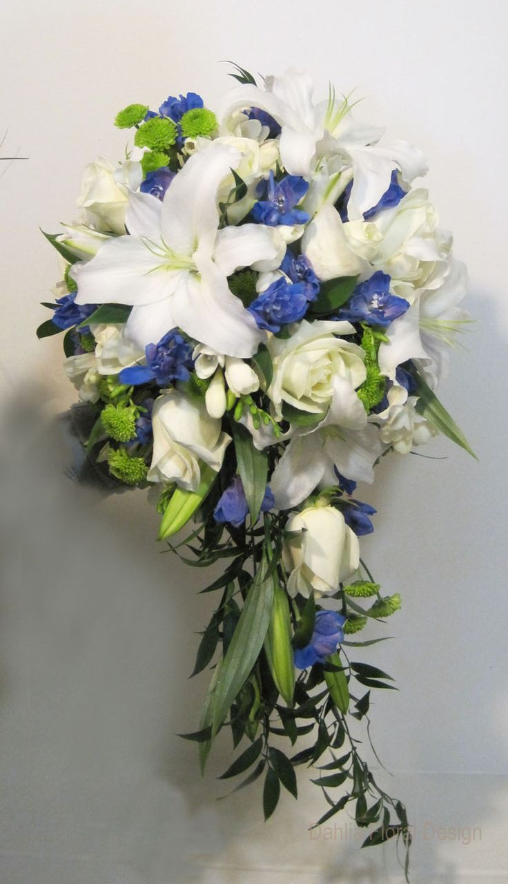 yellow and blue bridal bouquets blue and white cascade wedding flower bridal bouquet
