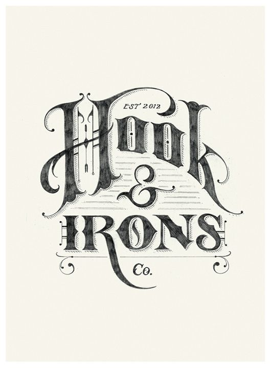 "Hook & Irons Co. – Retro Logo Sketch -- I like the movement of the ""Hook"" as well as the detail in the ""H"""