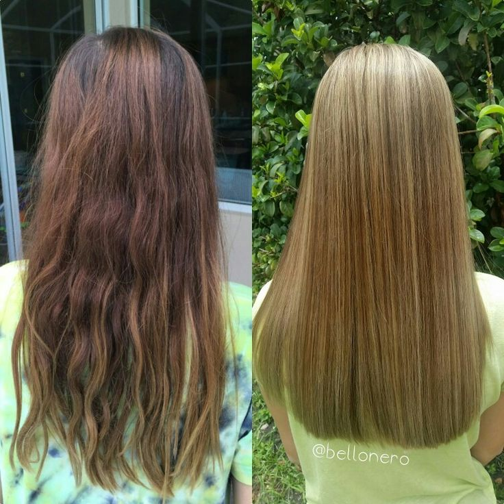 Long highlighted warm ash blonde hair with no red.