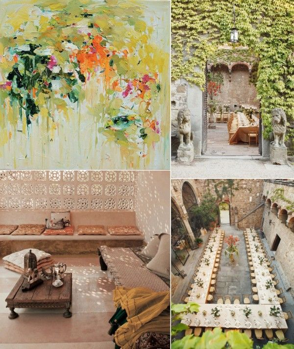Orange And Green Wedding Ideas via OnceWed.  Love the painting top-left
