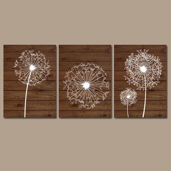 DANDELION Wall Art Bedroom Wall Art Bathroom Wall Art Bedroom Pictures Flower Wall Art Dandelion Prints on Wood Set of 3 Home Decor Artwork