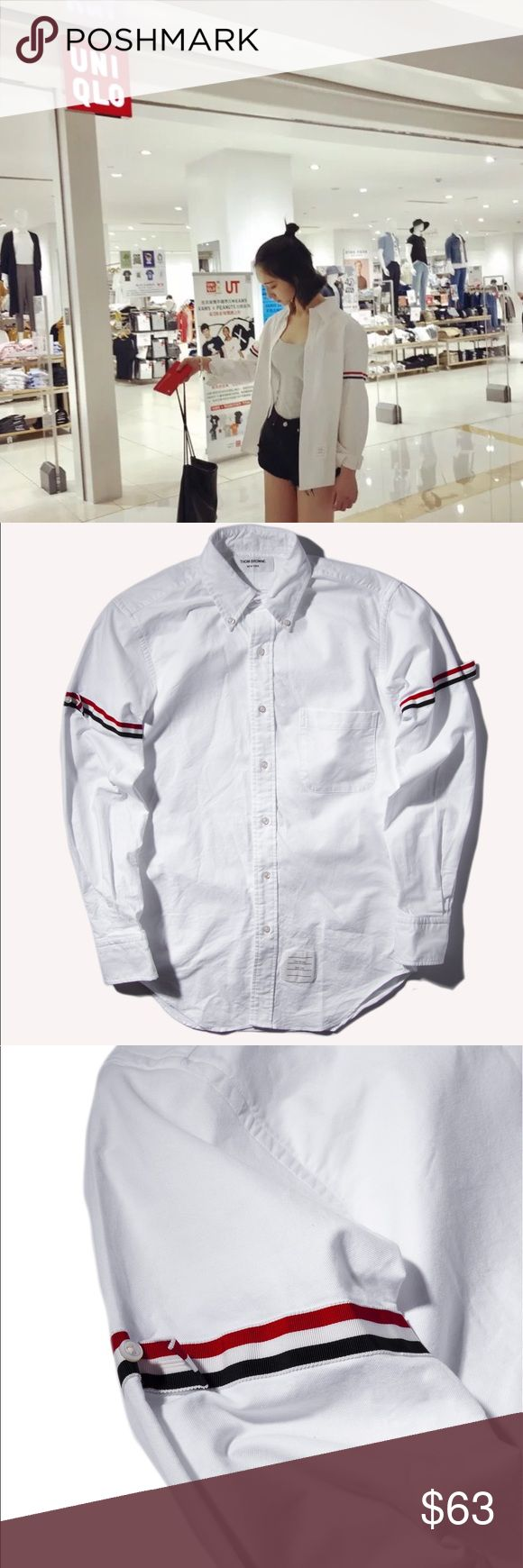 TB Classic Armband Stripe Classic Oxford Shirt 😍 Unisex sizes are available. (0-4).  Very fitted, or worn oversized.  Recommended sizes for women (0-2). Ex. Ht/Wt 5'4 125/130 - size (0) for fitted and size 1 for loose fit.   Mens recommended size (2-3) for fitted. (4) for loose fit.   Sizing questions please email me - dandyshop17@gmail.com  Online website - www.dandyshop17.com Thom Browne Tops Button Down Shirts