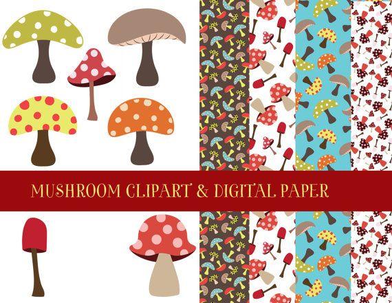 Mushroom Clipart and Digital Paper UPDATED by MerrieMooreDesigns