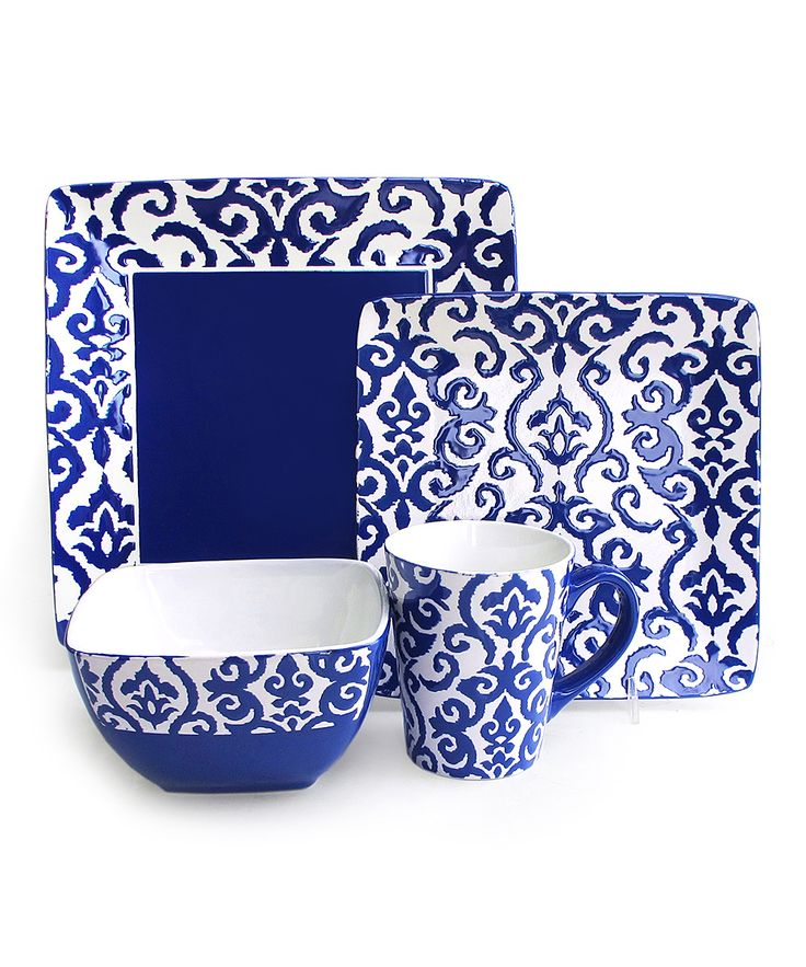 salebass love the square blue dishes navy relief waverly 16piece dinnerware set - Dishware Sets