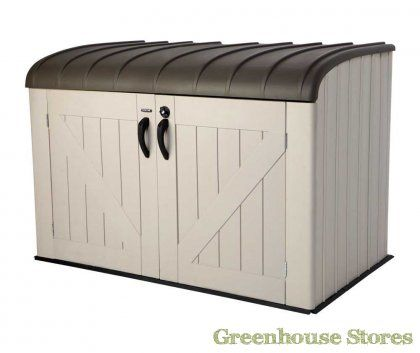 Lifetime 6x3.5 Outside Plastic Storage Unit for storing away kids toys and garden mowers or bikes.  http://www.greenhousestores.co.uk/Lifetime-6x3.5-Plastic-Outdoor-Storage-Unit.htm