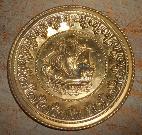 Vintage Wall Plates Impressive Vintage Wall Plates Brass Ships Embossed Metalthebackshak Inspiration