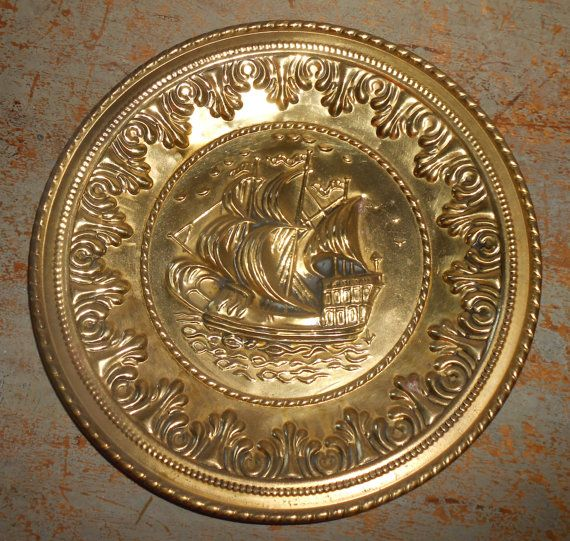 Vintage Wall Plates Brass Ships Embossed Metal