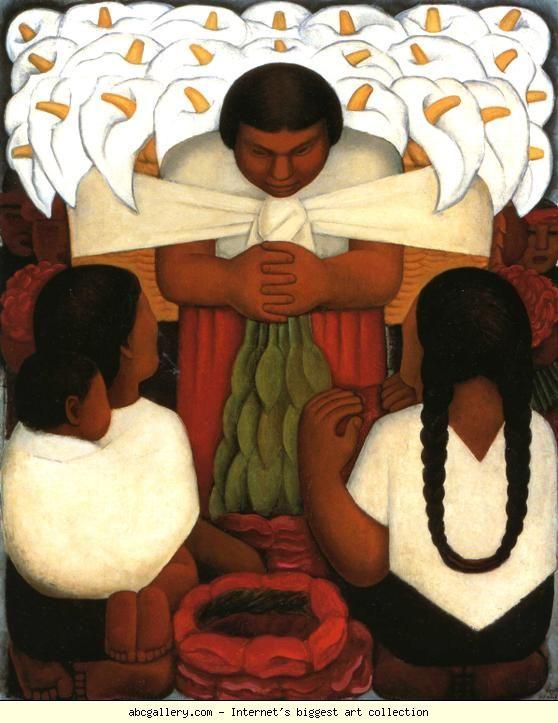 Diego Rivera. Flower Festival. / Festival de las flores. 1925. Oil on canvas. 147.3 x 120.7 cm. Los Angeles County Museum of Art, Los Angeles, CA, USA.