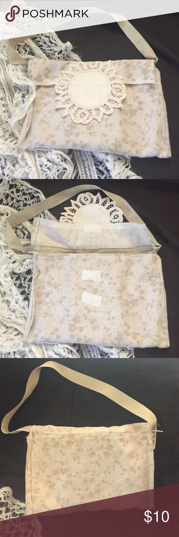 """Small envelope style purse Soft fabric small envelope style purse. Closes with Velcro and a doily. Cream and taupe. Measures 10"""" x 7"""" strap 21"""" Bags Mini Bags"""