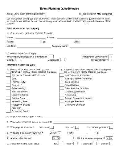 Event Planning Questionnaire | Event planning worksheet ...
