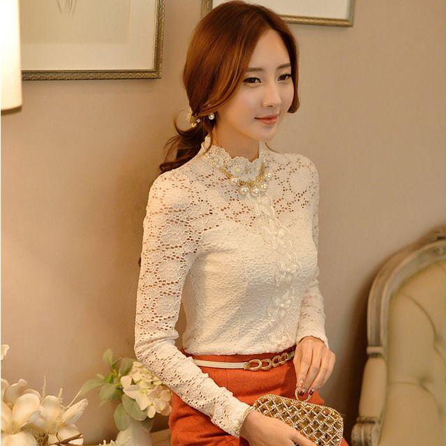 06e1c23cc6b88f 2016 primavera Shirts Ladies oficina moda Blusa de la gasa elegante blanco  de manga larga de cuello alto de encaje de flores camisas …