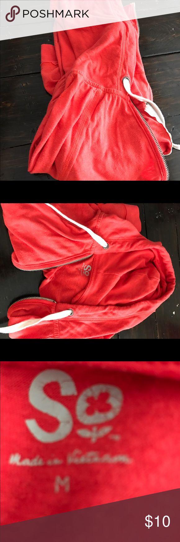 So red zip up hoodie size m Cute good condition Tops Sweatshirts & Hoodies
