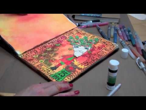 This is hilarious-whoever made this video used a voice recognition program and the captions are all wrong!!  So funny!!  Dylusions Art Journaling Creating a Page - Part 2