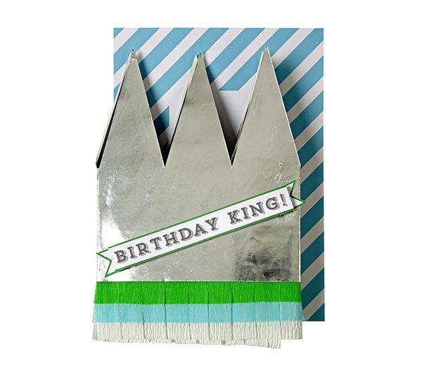 Kaart met kroontje - Birthday King. www.Millows.nl