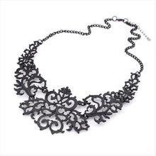 2014 Najnowszy Biżuteria Dla Kobiet Prezent 3 Kolory Hollow Kwiat Alloy Vintage Pozłacane Krótki Choker Komunikat Naszyjniki(China (Mainland))