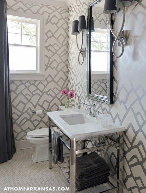 Basement bathroom idea-graphic wallpaper. La Dolce Vita: On My Mind: Design Details