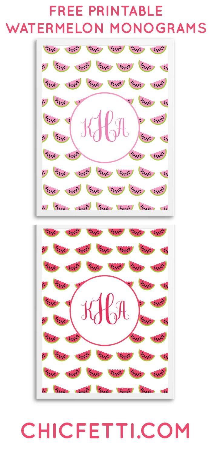 free watermelon printable monograms type in your own initials and print from chicfetti