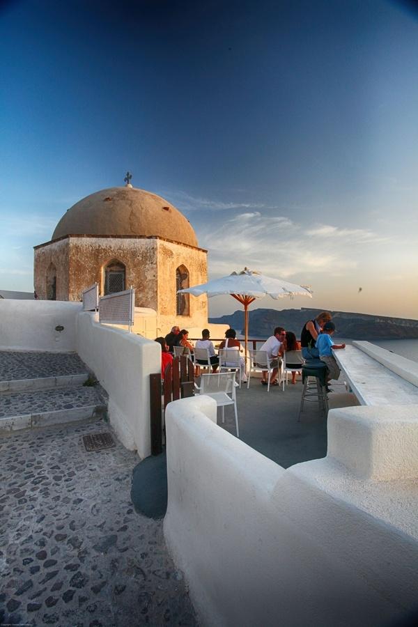 Santorini, Caldera cafe in Fira ,Greece