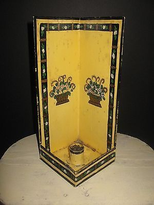 Antique Victorian Chamber Walking Candlestick Holder hand-painted Tin candlehold